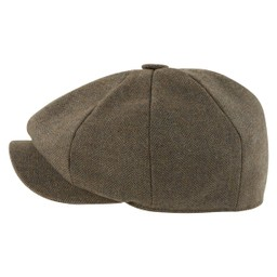Newsboy Cap Loden Green Herringbone Tweed