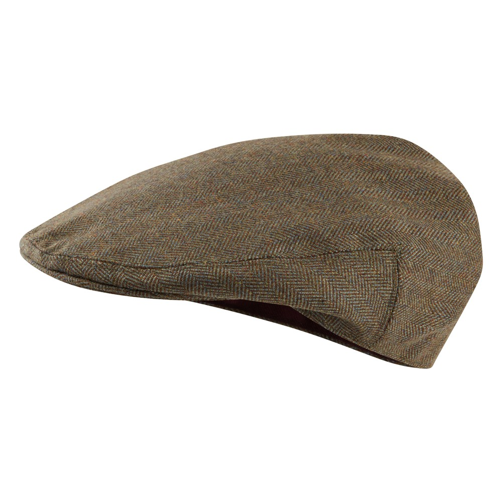 Ladies Tweed Cap Loden Green Herringbone Tweed
