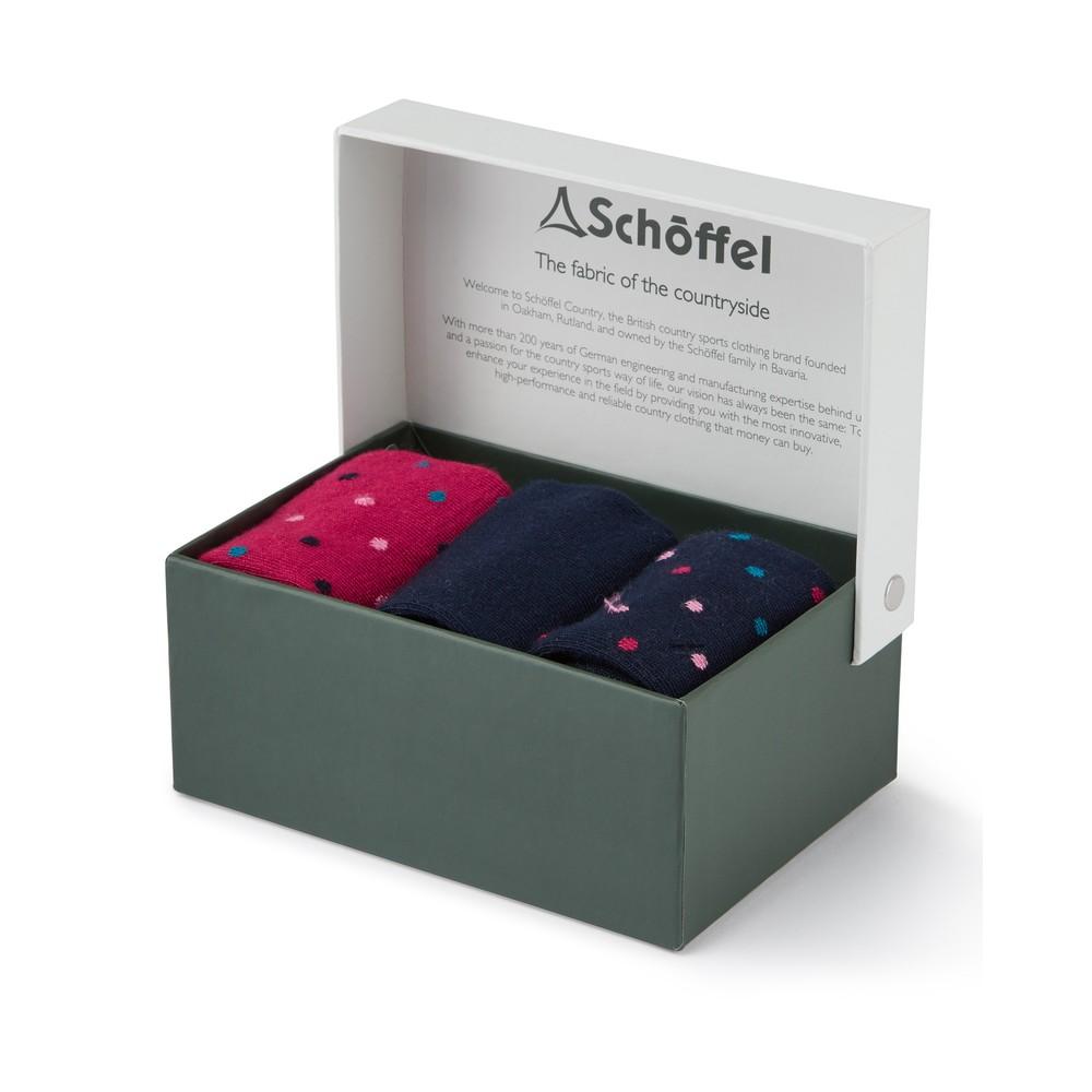 Ladies Bamboo Sock (Box of 3) Navy Dot Mix