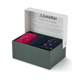 Schoffel Country Ladies Bamboo Sock (Box of 3) in Navy Dot Mix