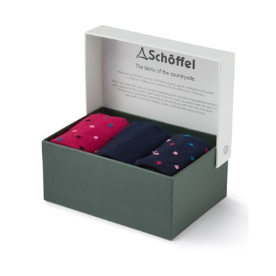 Ladies Bamboo Sock (Box of 3) Navy Dot Mix