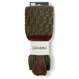 Schoffel Country Lattice Sock in Olive/Claret