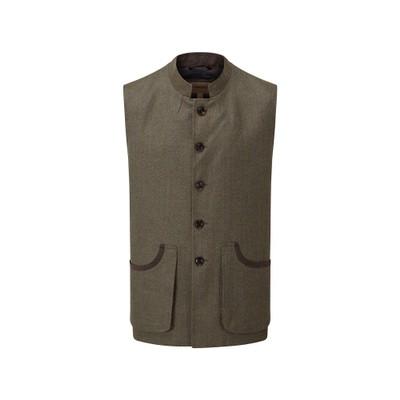 Holcot Tweed Waistcoat Loden Green Herringbone Tweed