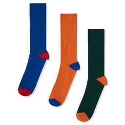 Rib Sock (Pack of 3) Cobalt Mix