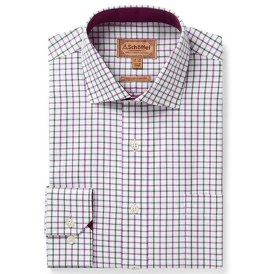 Schoffel Country Milton Tailored Shirt in Pink/Olive Check
