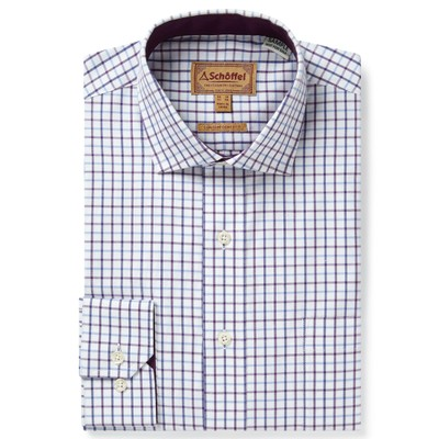 Schoffel Country Milton Tailored Shirt in Purple Check