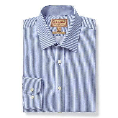 Greenwich Classic Shirt Navy Stripe