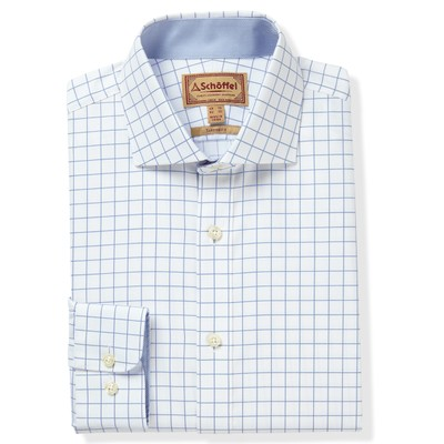 Schoffel Country Greenwich Tailored Shirt in Light Blue Check