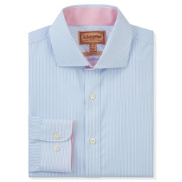 Schoffel Country Greenwich Tailored Shirt in Lt Blue Stripe