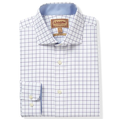 Schoffel Country Greenwich Tailored Shirt in Purple Check