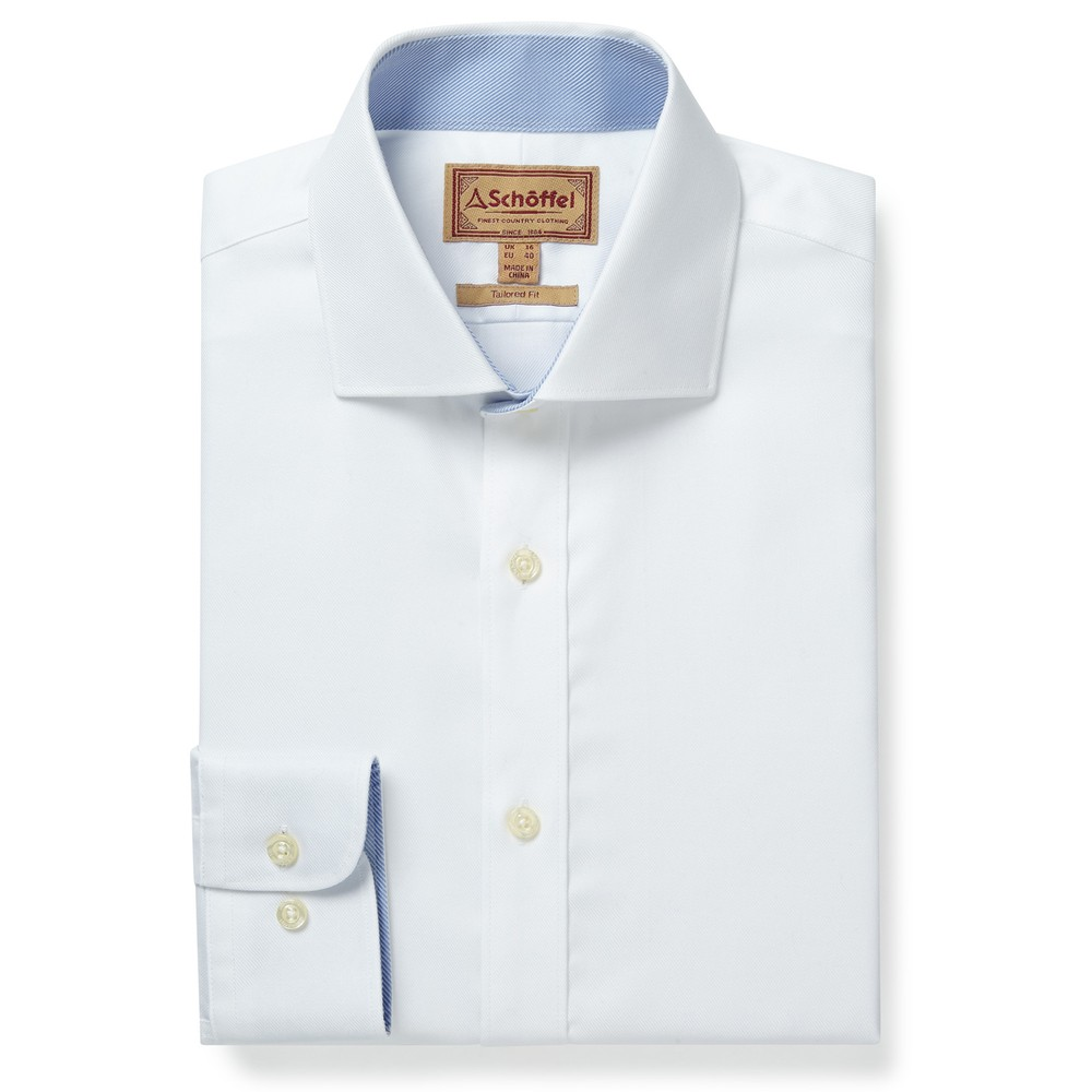 Greenwich Tailored Shirt White Diagonal