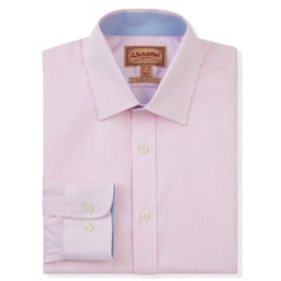Schoffel Country Greenwich Classic Shirt in Pale Pink Stripe