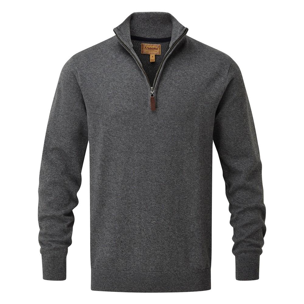 Cotton Cashmere 1/4 Zip Jumper Castle Grey