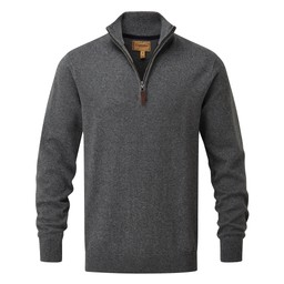 Schoffel Country Cotton Cashmere 1/4 Zip Jumper in Castle Grey