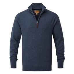 Schoffel Country Cotton Cashmere 1/4 Zip Jumper in Dark Denim