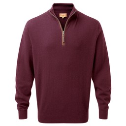 Schoffel Country Merino/Cashmere 1/4 Zip Jumper in Damson