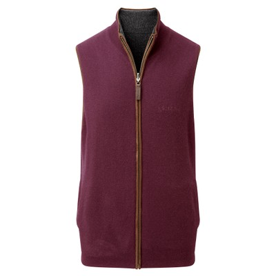 Reversible Merino/Cashmere Gilet Damson/Charcoal