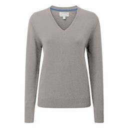 Schoffel Country Ladies Merino V Neck in Silver Grey