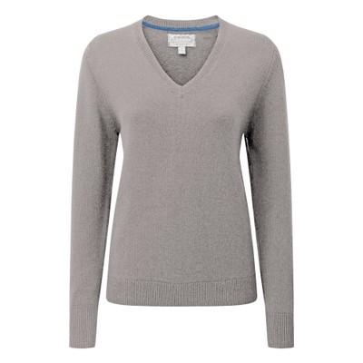 Ladies Merino V Neck Silver Grey