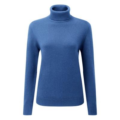 Ladies Merino Roll Neck Cobalt Blue