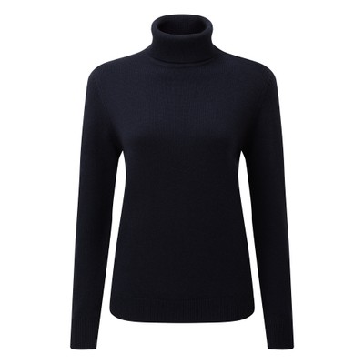 Ladies Merino Roll Neck Navy
