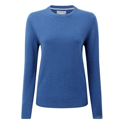 Ladies Merino Crew Neck Cobalt Blue