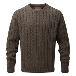 Schoffel Country Lambswool Chunky Cable Crew in Mocha