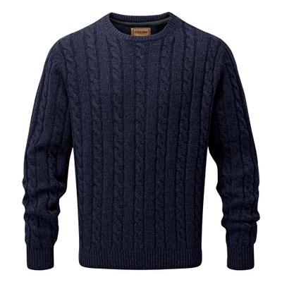 Lambswool Chunky Cable Crew Navy