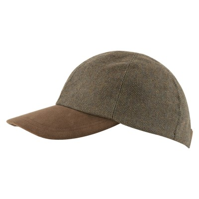 Barnsdale Cap Loden Green Herringbone Tweed