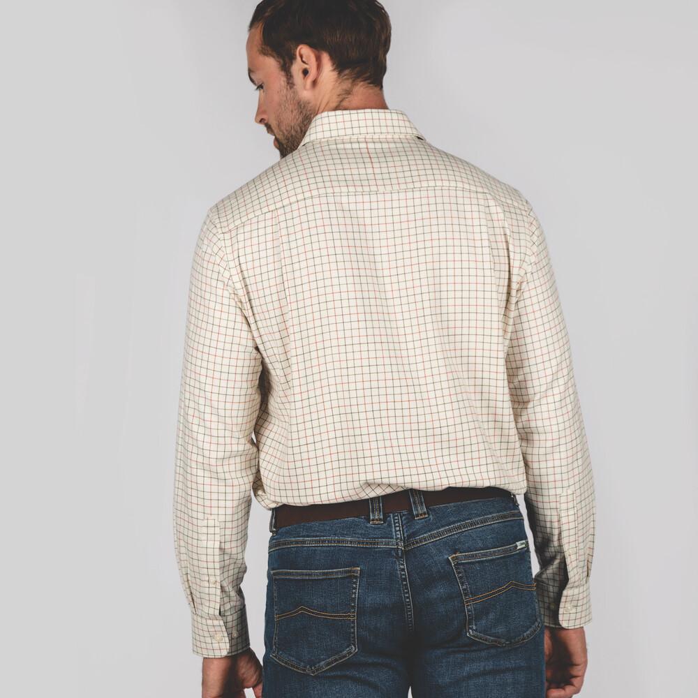 Newton Tailored Sporting Shirt Olive/Brick Check