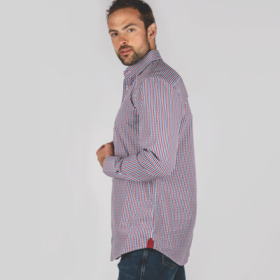 Hebden Tailored Shirt Sea Blue/Chilli