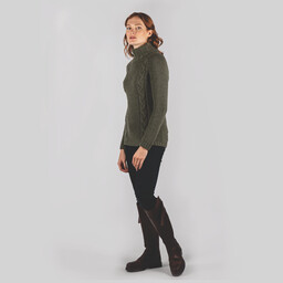Schoffel Country Merino Cable Roll Neck in Grousemoor