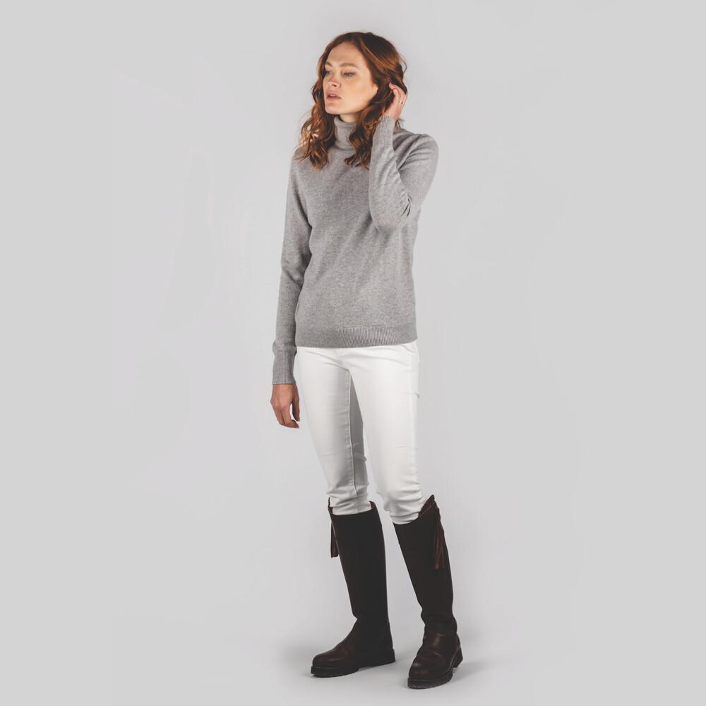 Ladies Merino Roll Neck Silver Grey