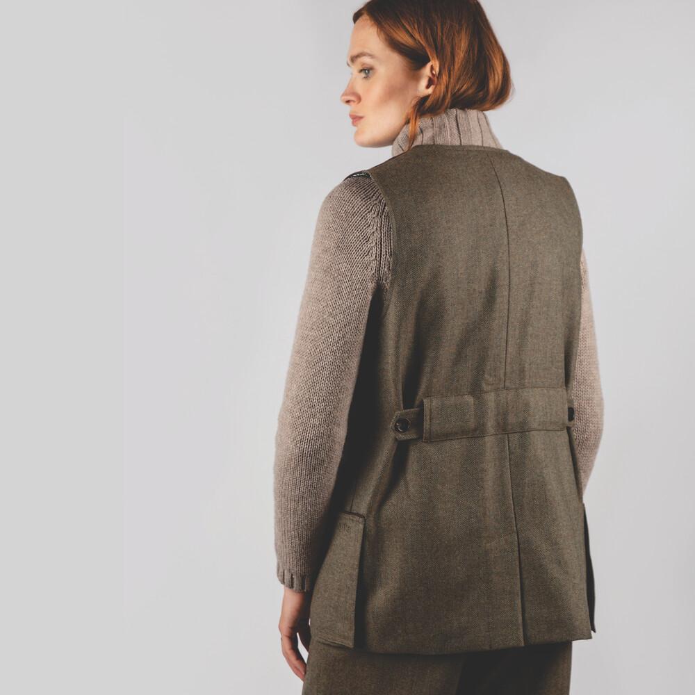 Ladies Tweed Shooting Vest Loden Green Herringbone Tweed