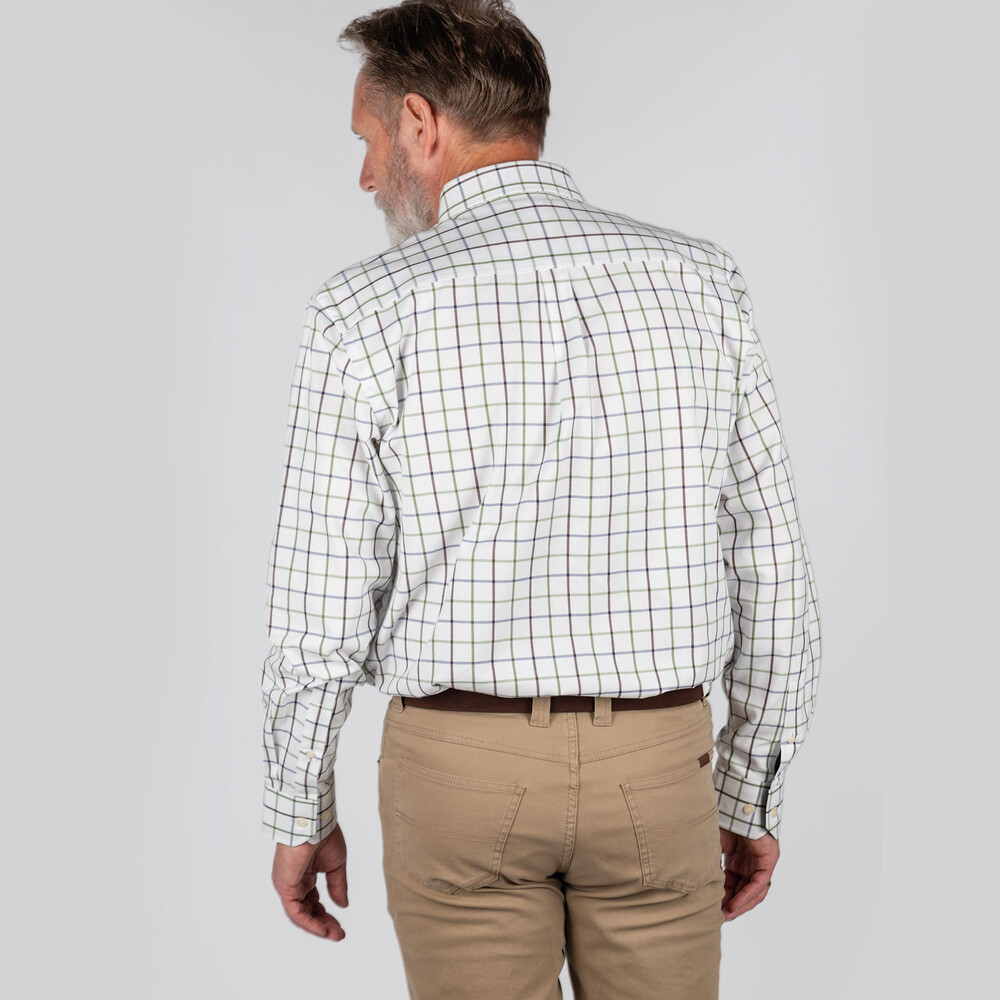 Brancaster Classic Shirt Navy/Brown/Olive Wide