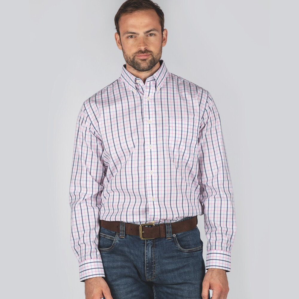 Holkham Classic Shirt Marine/Cornflower/Pink