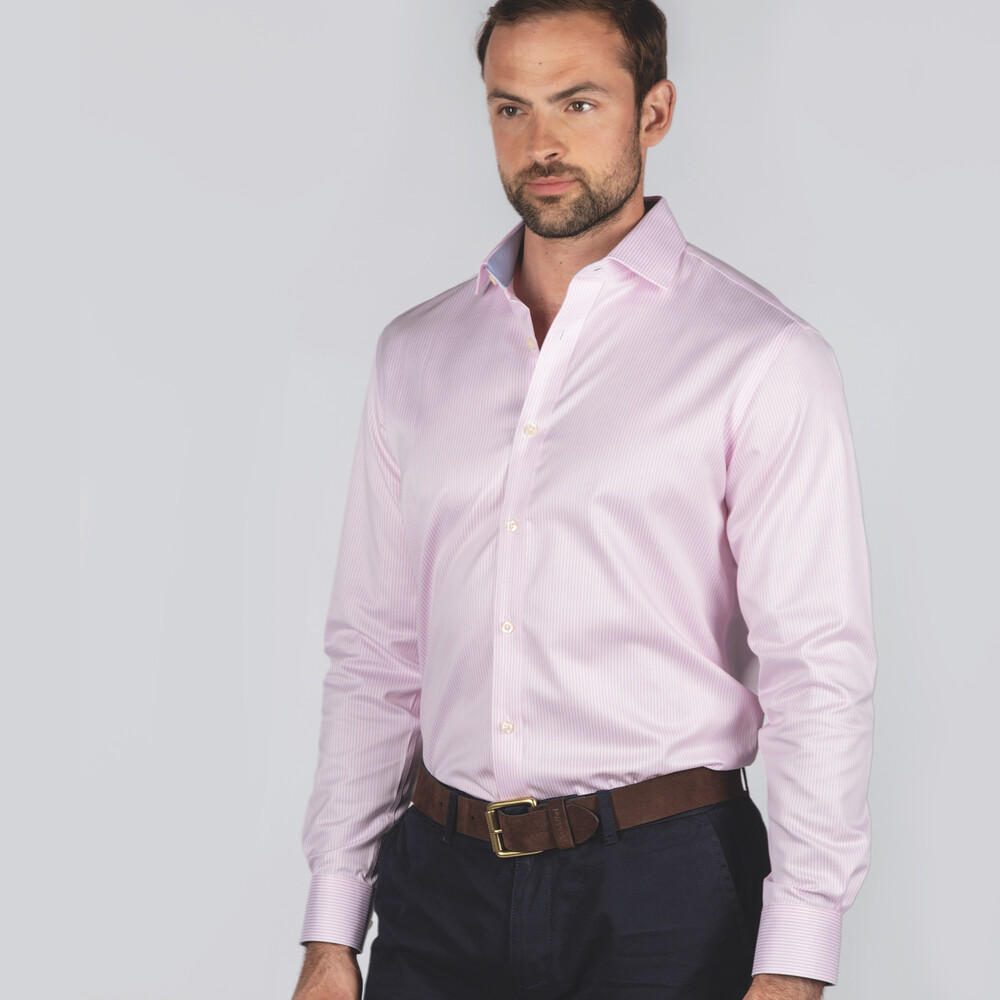 Greenwich Tailored Shirt Pale Pink Stripe