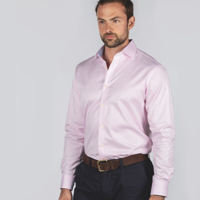 Schoffel Country Greenwich Tailored Shirt in Pale Pink Stripe