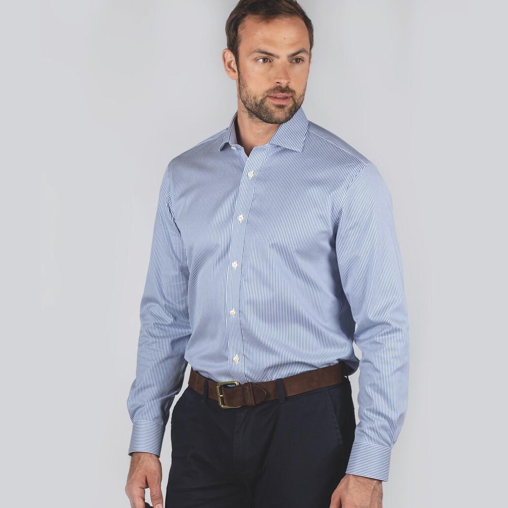 Greenwich Tailored Shirt Navy Stripe