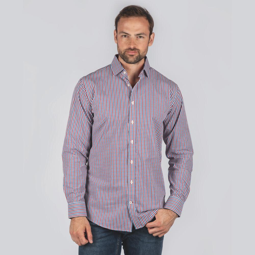 Hebden Tailored Shirt Sea Blue/Chilli