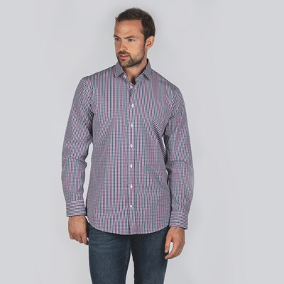 Hebden Tailored Shirt Navy/Purple