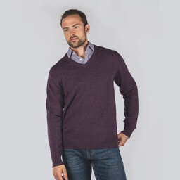 Schoffel Country Lambswool V Neck Jumper in Prune