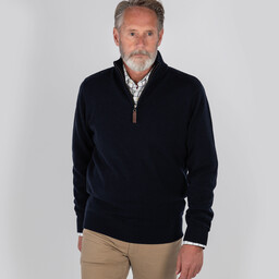 Schoffel Country Cotton Cashmere 1/4 Zip Jumper in Navy