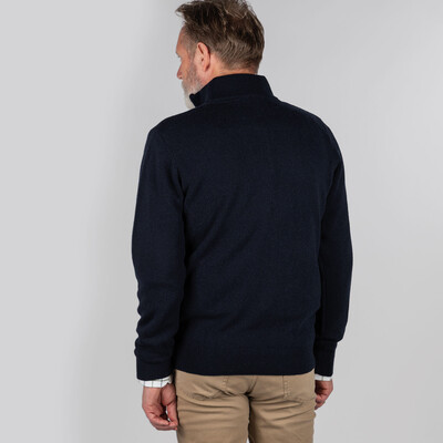 Cotton Cashmere 1/4 Zip Jumper Navy