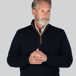 Schoffel Country Merino/Cashmere 1/4 Zip Jumper in Navy