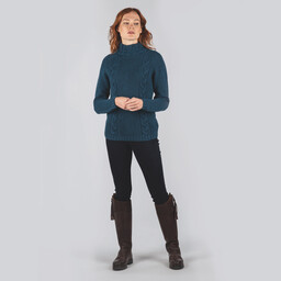Merino Cable Roll Neck Kingfisher