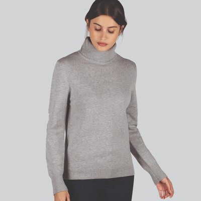 Ladies Merino Roll Neck Silver Grey