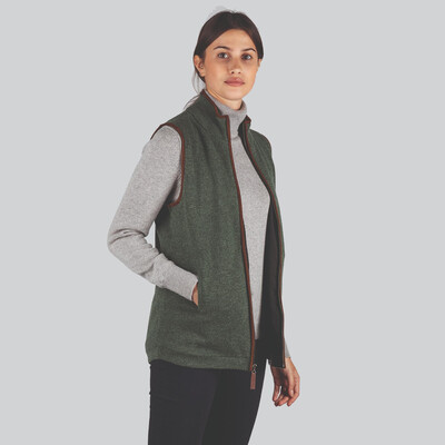 Ladies Lambswool Aerobloc Gilet Cedar Green