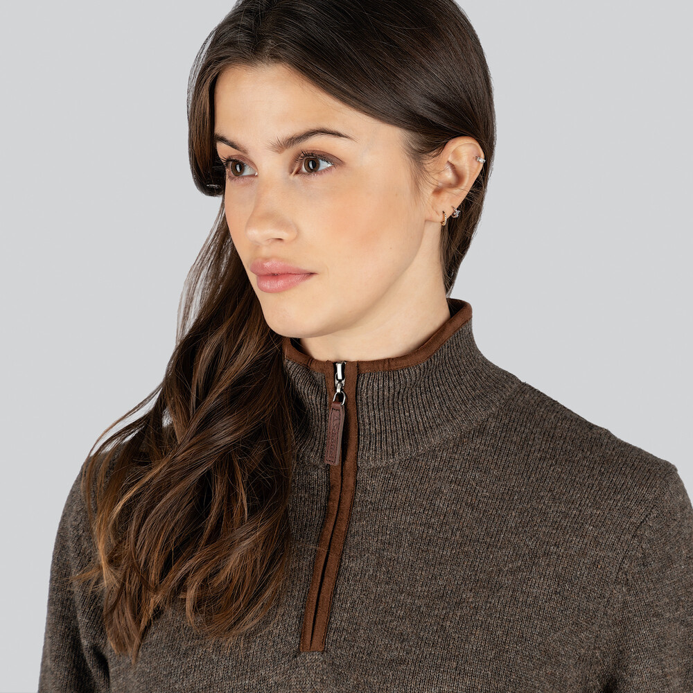 Ladies Lambswool Aerobloc 1/4 Zip Jumper Mole