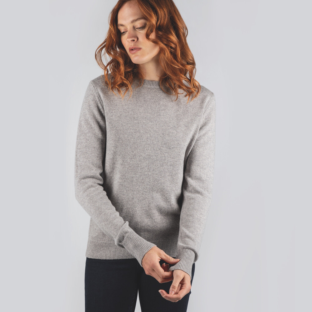 Ladies Merino Crew Neck Silver Grey